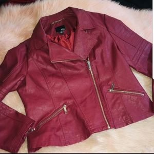 Red Moto Jacket Faux Leather